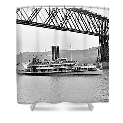 Steamer Albany Under Poughkeepsie Trestle Black And White Shower Curtain