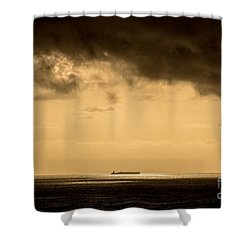 Steaming Thru The Sunrise Shower Curtain by Rene Triay Photography