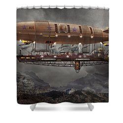 Steampunk - Blimp - Airship Maximus  Shower Curtain