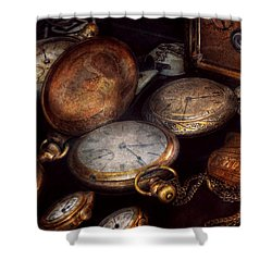 Steampunk - Clock - Time Worn Shower Curtain by Mike Savad