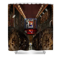 Steampunk - Dystopian Society Shower Curtain by Mike Savad