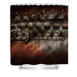 Steampunk - Electrical - Motorized  Shower Curtain by Mike Savad