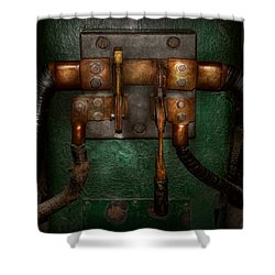 Steampunk - Electrical - Pull The Switch  Shower Curtain by Mike Savad