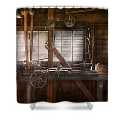 Steampunk - Machinist - My Tinkering Workshop  Shower Curtain by Mike Savad
