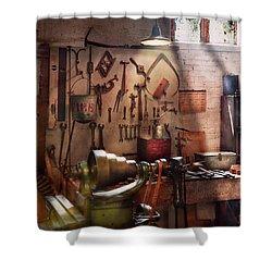 Steampunk - Machinist - The Inventors Workshop  Shower Curtain by Mike Savad