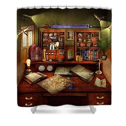 Steampunk - My Busy Study Shower Curtain by Mike Savad