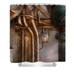 Steampunk - Plumbing - Industrial Abstract  Shower Curtain by Mike Savad