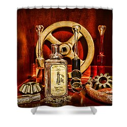 Steampunk - Spare Gears - Mechanical Shower Curtain by Paul Ward