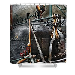 Steampunk - The Steam Engine Shower Curtain by Mike Savad