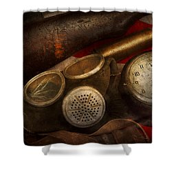 Steampunk - War - Remembering The War Shower Curtain by Mike Savad