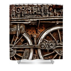 Steampunk- Wheels Locomotive Shower Curtain