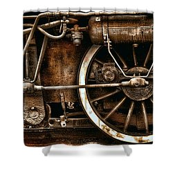 Steampunk- Wheels Of Vintage Steam Train Shower Curtain