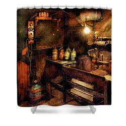 Steampunk - Where Experiments Are Done Shower Curtain by Mike Savad