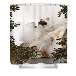 Shower Curtain featuring the photograph Steamy Bison by Sue Smith