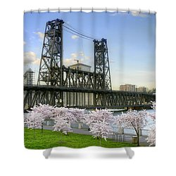 Steel Bridge And Cherry Blossom Trees In Portland Oregon Shower Curtain