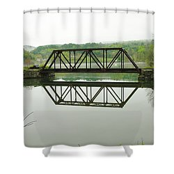 Shower Curtain featuring the photograph Vermont Steel Railroad Trestle On A Calm  Misty Morning by Sherman Perry