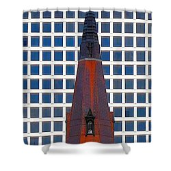 Shower Curtain featuring the photograph Steeple And Office Building by Janette Boyd