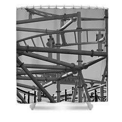 Steeple Chase In Black And White Shower Curtain by Rob Hans