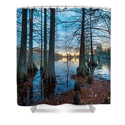 Steinhagen Reservoir Vertical Shower Curtain by David Morefield