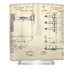 1885 Steinway Piano Pedal Patent Art Shower Curtain by Gary Bodnar