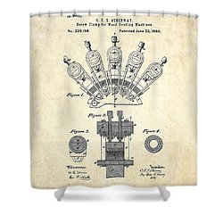1880 Steinway Screw Clamp Patent Art Shower Curtain by Gary Bodnar