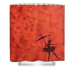 Stencil Ballerina Shower Curtain