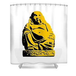 Stencil Buddha Yellow Shower Curtain by Pixel Chimp