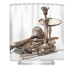 Sterling Silver  Shower Curtain by Gunter Nezhoda
