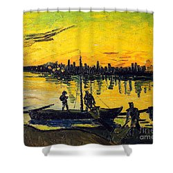 Stevedores In Arles Shower Curtain by Vincent van Gogh