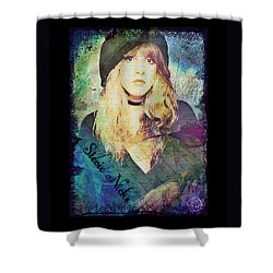 Stevie Nicks - Beret Shower Curtain by Absinthe Art By Michelle LeAnn Scott