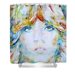 Stevie Nicks - Watercolor Portrait Shower Curtain by Fabrizio Cassetta