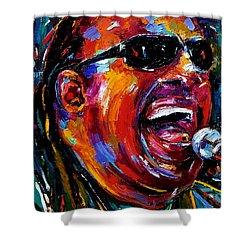 Stevie Wonder Shower Curtain by Debra Hurd