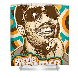 Stevie Wonder Pop Art Shower Curtain