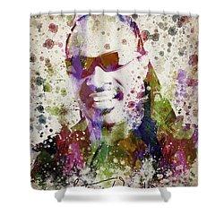 Stevie Wonder Portrait Shower Curtain by Aged Pixel