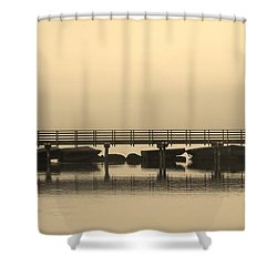 Still Lake Shower Curtain by Clare Bevan