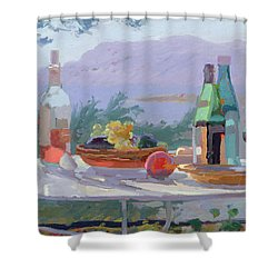 Still Life And Seashore Bandol Shower Curtain by Sarah Butterfield