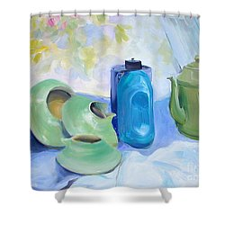Shower Curtain featuring the painting Still Life In Blue And Green Pottery by Greta Corens