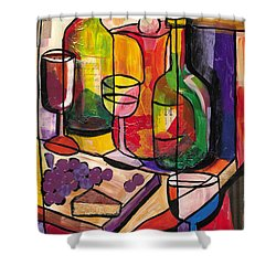 Still Life Of Fruit Wine And Cheese Shower Curtain