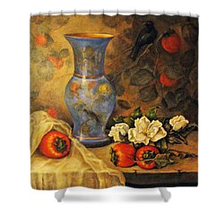 Shower Curtain featuring the painting Still Life Of Persimmons  by Donna Tucker