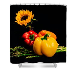 Still Life Peppers Asparagus Sunflower Shower Curtain by Jon Woodhams