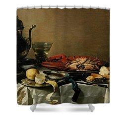 Still Life Shower Curtain by Pieter Claesz