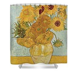 Still Life Sunflowers Shower Curtain by Vincent Van Gogh