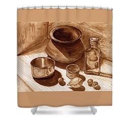 Still Life Walnut Ink Shower Curtain by Mukta Gupta