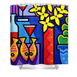 Still Life With 3 Fish  Shower Curtain by John  Nolan
