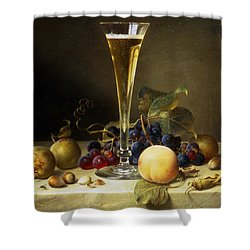 Still Life With A Glass Of Champagne Shower Curtain by Johann Wilhelm Preyer