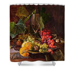 Still-life With A Glass Of Wine And Grapes Shower Curtain