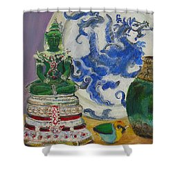 Still Life With Buddha Shower Curtain