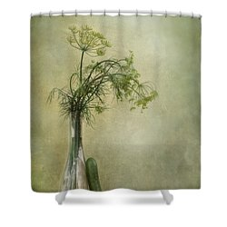 Still Life With Dill And A Cucumber Shower Curtain by Priska Wettstein
