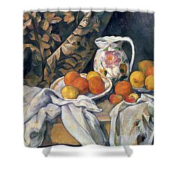 Still Life With Drapery Shower Curtain by Paul Cezanne