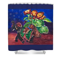 Still Life With Elephant Figure And Prrimulas Shower Curtain
